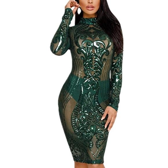 63ff765b5192 Dresses | Green Sequin Geometric Bandage Bodycon Dress | Poshmark